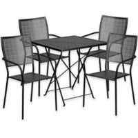 Flash Furniture 5-Piece Metal Patio Folding Table and Square-Back Chairs Set in Black