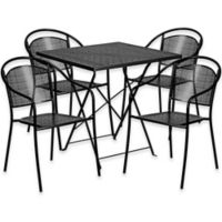 Flash Furniture 5-Piece Metal Patio Folding Table and Round-Back Chairs Set in Black