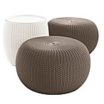 Keter Urban Knit 3-Piece Pouf Set in Harvest Brown/Cream