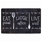 "Home Dynamix Designer Chef 18-Inch x 30-Inch ""Eat, Laugh, Live""  Kitchen Mat in Black"