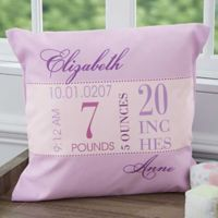 Baby's Big Day 18-Inch Square Keepsake Throw Pillow in Purple