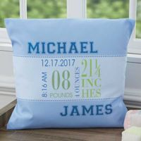 Baby's Big Day 18-Inch Square Keepsake Throw Pillow in Blue