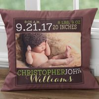Darling Baby Boy 18-Inch Square Keepsake Throw Pillow