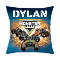 """Monster Jam"" Trucks Square Throw Pillow in Blue"