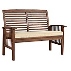 Forest Gate Eagleton Patio Acacia Dark Brown Wood Loveseat Bench with Cushion