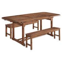 Forest Gate Eagleton Patio 3-Piece Acacia Wood Patio Dining Set in Dark Brown