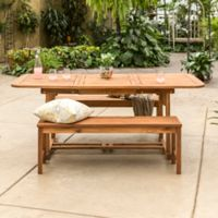 Forest Gate Eagleton Patio 3-Piece Acacia Wood Patio Dining Set in Brown