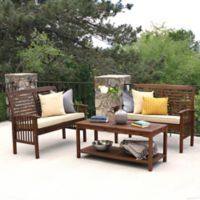 Forest Gate Eagleton Patio 3-Piece Acacia Wood Patio Dining Set in Dark Brown