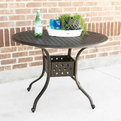 Walker Edison 42 Inch Round All Weather Cast Aluminum Dining Table In  Antique Bronze
