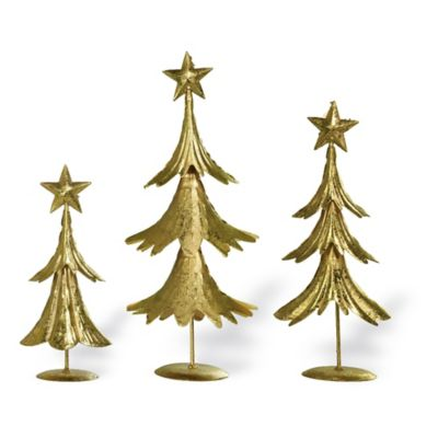 boston international tiered trees in gold set of 3 - Small Christmas Tree