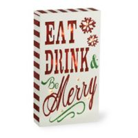 """Boston International 4.5-Inch x 8-Inch """"Be Merry"""" LED Box Sign in Red/White/Green"""