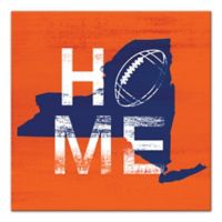 Designs Direct New York Football State Pride 16-Inch Square Canvas Wall Art in Orange