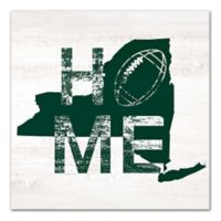 Designs Direct New York Football State Pride 16-Inch Square Canvas Wall Art in Green