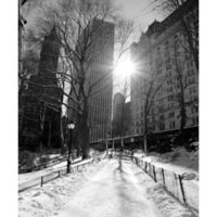 Elementem Photography Winter at Lincoln Square 20-Inch x 24-Inch Canvas Wall Art