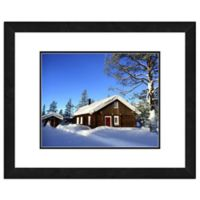 Photo File Snow Covered Cabin 18-Inch x 22-Inch Framed Wall Art