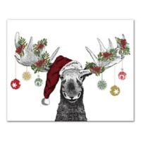 Designs Direct Christmas Moose 16-Inch x 20-Inch Canvas Wall Art