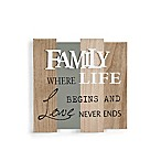 "Danya B. ""Family-Where Life Begins"" 12.5-Inch Square Wooden Wall Plaque"