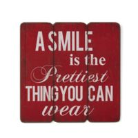 "Danya B. ""A Smile is the Prettiest Thing"" 16-Inch x 16-Inch Wooden Wall Art"