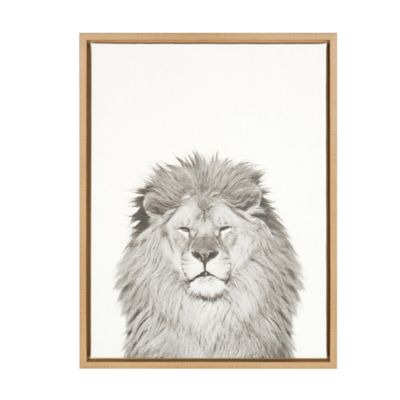 Kate And Laurel Sylvie Lion 18 Inch X 24 Inch Natural Framed Canvas Wall
