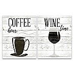 """Coffee Hour and Wine Time"" 2-Pack Canvas Wall Art"