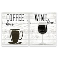"""""""Coffee Hour and Wine Time"""" 2-Pack Canvas Wall Art"""
