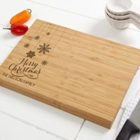 Snowflakes 10-Inch x 14-Inch Bamboo Cutting Board