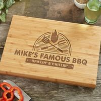 The Grill 10-Inch x 14-Inch Personalized Bamboo Cutting Board