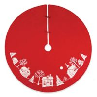 C&F Home Peaceful Village 54-Inch Round Christmas Tree Skirt in Red