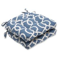 Pillow Perfect Lattice Damask Chair Pads in Blue (Set of 2)