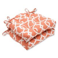 Pillow Perfect Lattice Damask Chair Pads in Orange (Set of 2)