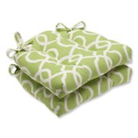 Pillow Perfect Lattice Damask Chair Pads in Green (Set of 2)
