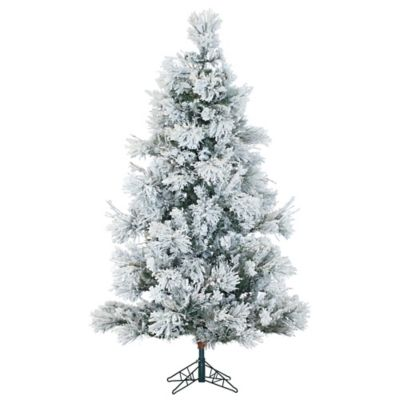 Fraser Hill Farm 9 Foot Snowy Pine Artificial Christmas Tree In White