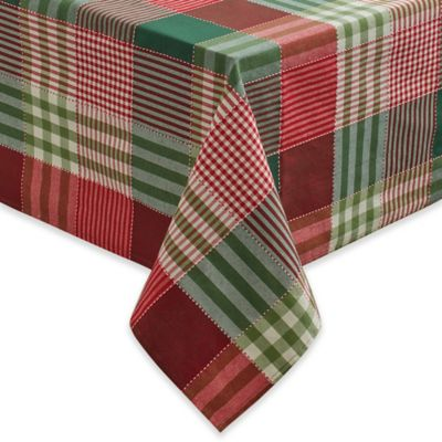 Holiday Check 60 Inch X 84 Inch Oblong Tablecloth
