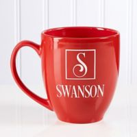 Square Monogram 14.5 oz. Red Bistro Mug