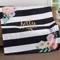 Floral Name 50-Inch x 60-Inch Fleece Throw Blanket