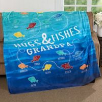 Hugs & Fishes 60-Inch x 80-Inch Fleece Throw Blanket