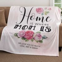 Home Is Where the Mom Is 50-Inch x 60-Inch Fleece Throw Blanket