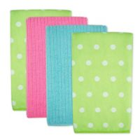Design Imports Dots Microfiber Kitchen Towels in Green (Set of 4)
