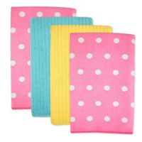 Design Imports Dots Microfiber Kitchen Towels in Pink (Set of 4)