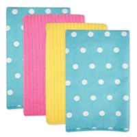 Design Imports Dots Microfiber Kitchen Towels in Blueberry (Set of 4)