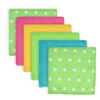 Design Imports Dots Microfiber Dishcloths in Green (Set of 6)