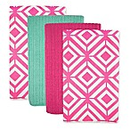 Design Imports Diamond Microfiber Kitchen Towels in Pink (Set of 4)