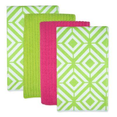 Design Imports Diamond Microfiber Kitchen Towels In Green Set Of 4