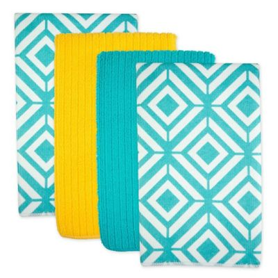 Design Imports Diamond Microfiber Kitchen Towels In Teal Set Of 4