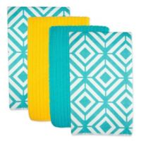 Design Imports Diamond Microfiber Kitchen Towels in Teal (Set of 4)