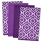 Design Imports Lattice Microfiber Kitchen Towels in Eggplant (Set of 4)