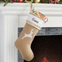 Rustic Chic Burlap Embroidered Reindeer Christmas Stocking
