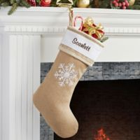 Rustic Chic Burlap Embroidered Snowflake Christmas Stocking