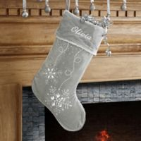 Season's Sparkle Embroidered Christmas Stocking in White