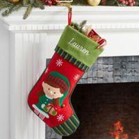 Elf Girl Christmas Family Stocking